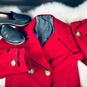 Michael Kors Red Wool Pea Coat Size Small